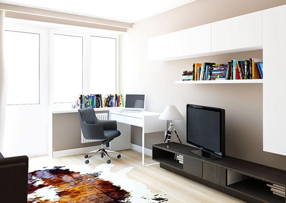 Рабочая зона в гостиной дизайн